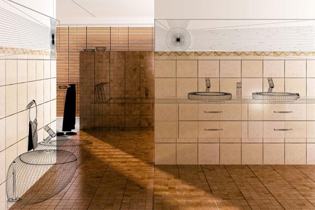 Im Badezimmer zwischenwände im badezimmer einziehen kleiner ablaufplan