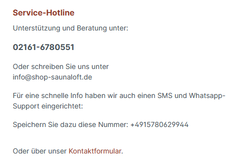 Shop-Saunaloft.de Kundenservice