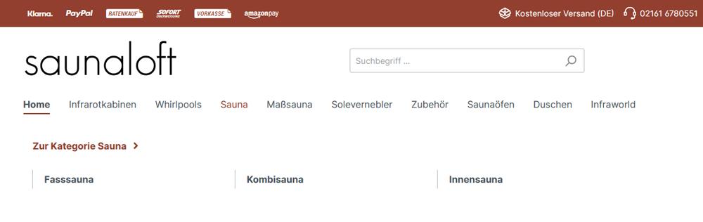 Shop-Saunaloft.de Navigation