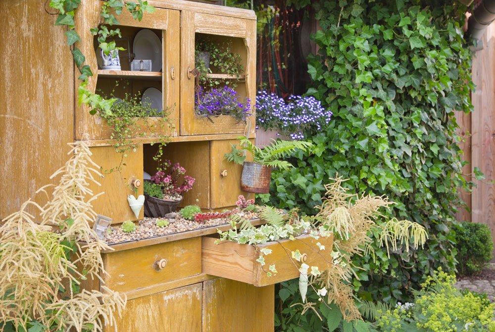 Schrank bepflanzt mit Kräutern