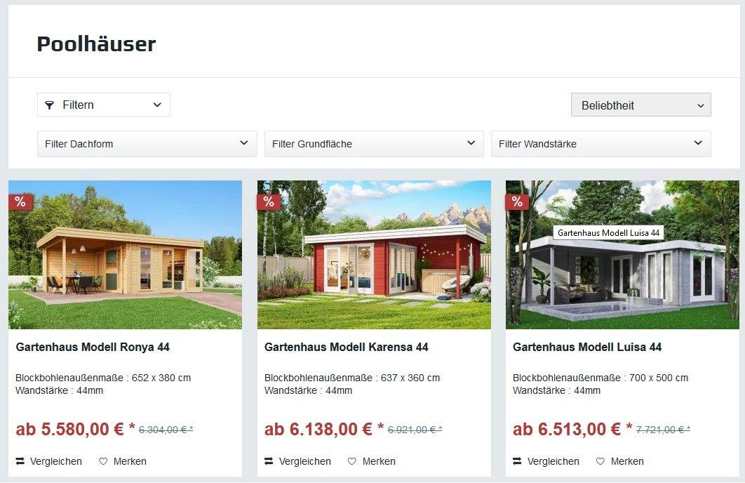 Poolhäuser von Gartenhausfabrik.de